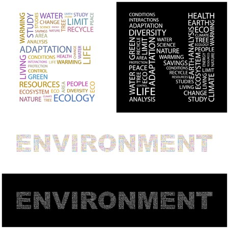 ENVIRONMENT. Word collage. illustration.    Stock Vector - 6919462