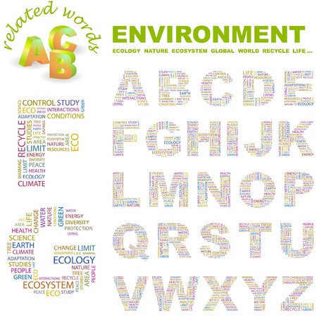 ENVIRONMENT.  letter collection. Word cloud illustration.   Stock Vector - 6920595
