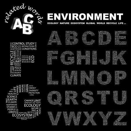 ENVIRONMENT.  letter collection. Word cloud illustration. Stock Vector - 6920481