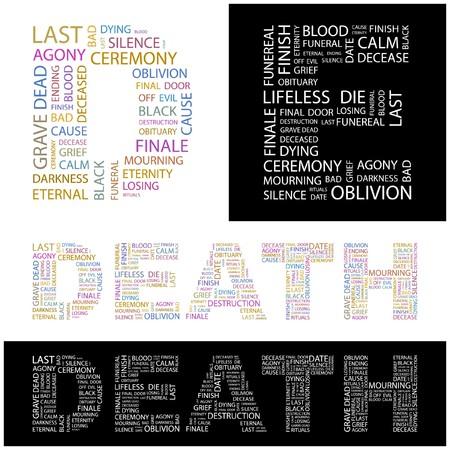 decease: DEATH. Word collage. illustration.