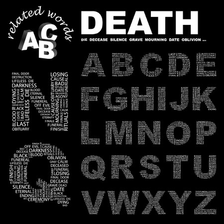 decease: DEATH.  letter collection. Word cloud illustration.
