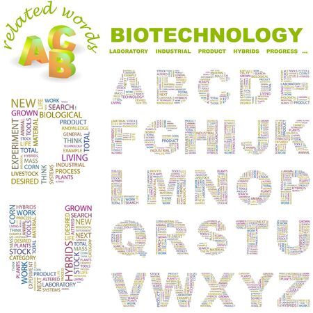 BIOTECHNOLOGY.  letter collection. Word cloud illustration. Stock Vector - 6921542