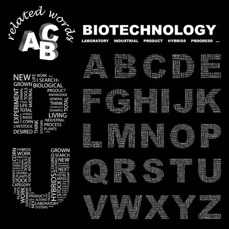 BIOTECHNOLOGY. letter collection. Word cloud illustration.   Stock Vector - 6921267