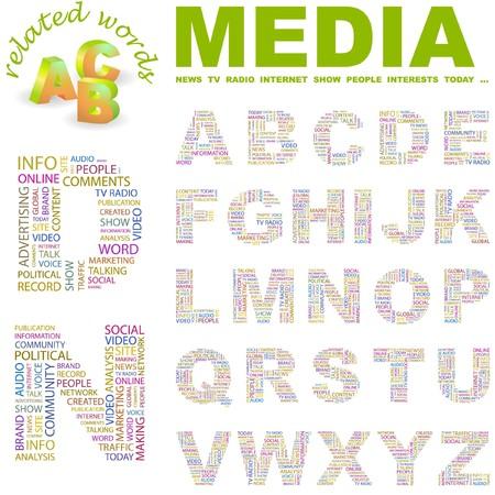 accessing: MEDIOS DE COMUNICACI�N.  colecci�n de la carta. Ilustraci�n de nube de Word.   Vectores
