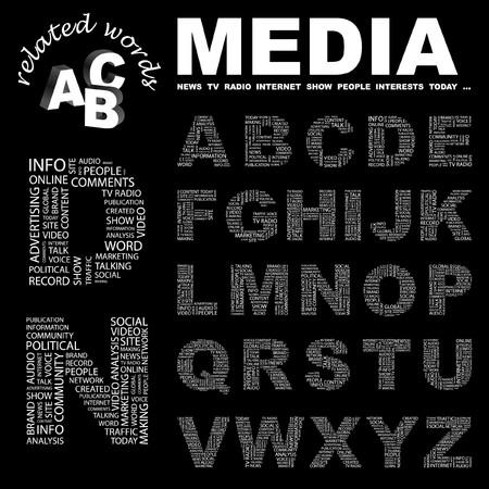 accessing: MEDIOS DE COMUNICACI�N. colecci�n de la Carta. Ilustraci�n de la nube de Word.