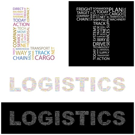 LOGISTICS. Word collage. illustration.    Stock Vector - 6919432