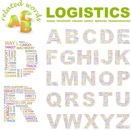 LOGISTICS.  letter collection. Word cloud illustration. Stock Vector - 6921466