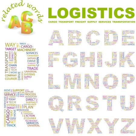 LOGISTICS. letter collection. Word cloud illustration.
