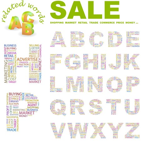SALE. letter collection. Word cloud illustration. Stock Vector - 6921093