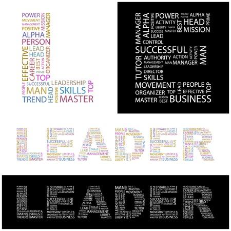 superintendent: L�DER. Collage de Word. ilustraci�n.