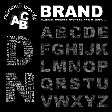 interbrand: BRAND.  letter collection. Word cloud illustration.   Illustration