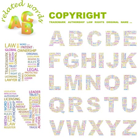 authorship: COPYRIGHT.  letter collection. Word cloud illustration.   Illustration