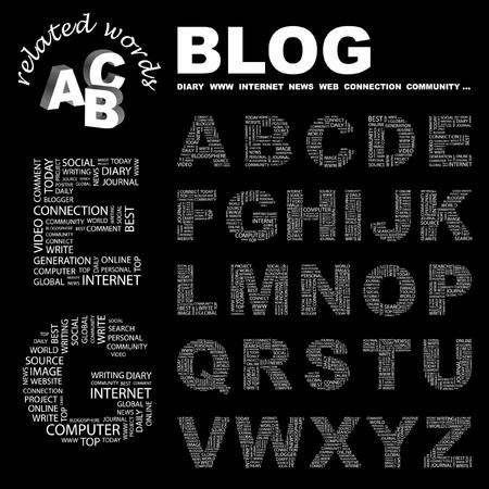 BLOG.  letter collection. Word cloud illustration.   Illustration