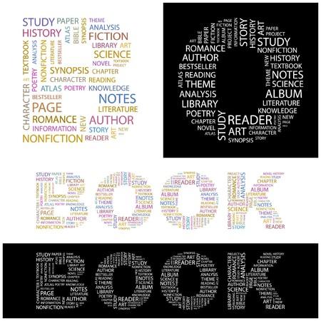 monograph: BOOK. Word collage.  illustration.