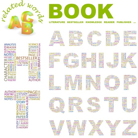 monograph: BOOK.  letter collection. Word cloud illustration.