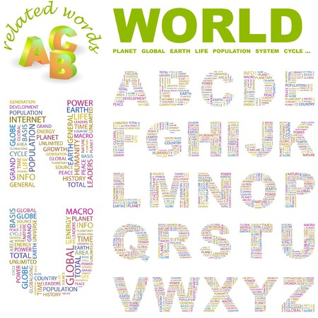 personality development: WORLD. letter collection. Word cloud illustration.   Illustration