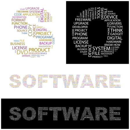 shareware: SOFTWARE. Word collage.  illustration.