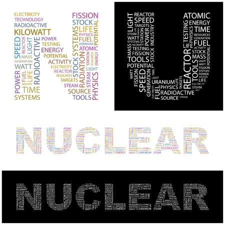kilowatts: NUCLEAR. Word collage.  illustration.