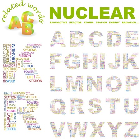 NUCLEAR. letter collection. Word cloud illustration. Stock Vector - 6920780