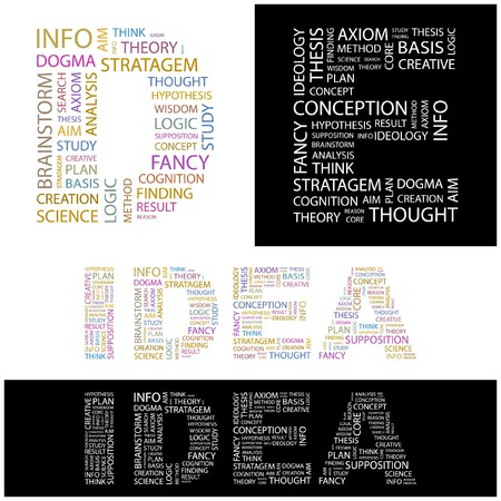 axiom: IDEA. Word collage.  illustration.