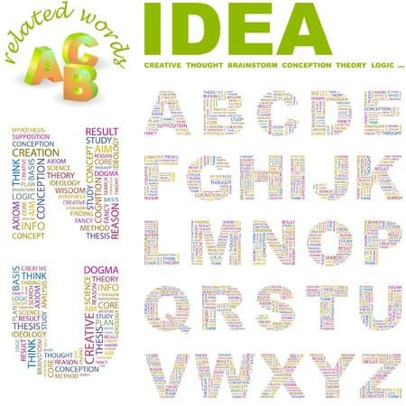 axiom: IDEA. letter collection. Word cloud illustration.