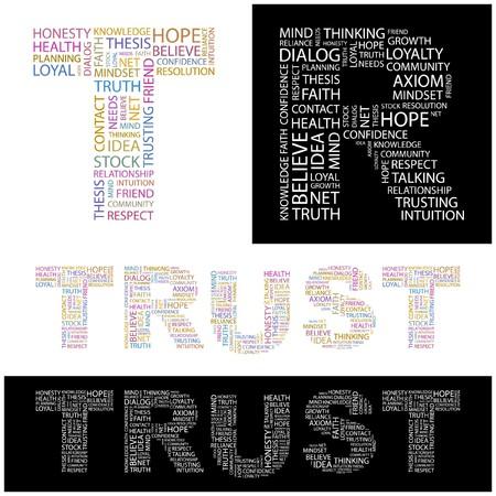 trusting: TRUST. Word collage.  illustration.    Illustration