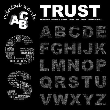 thesis: TRUST.  letter collection. Word cloud illustration.