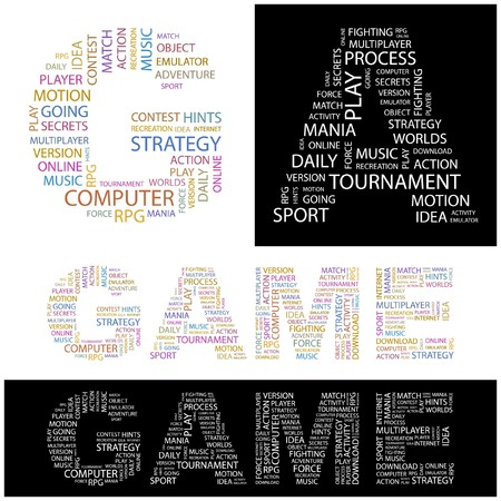 mania: GAME. Word collage.  illustration.