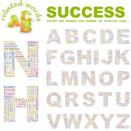 SUCCESS. letter collection. Word cloud illustration.   Vector