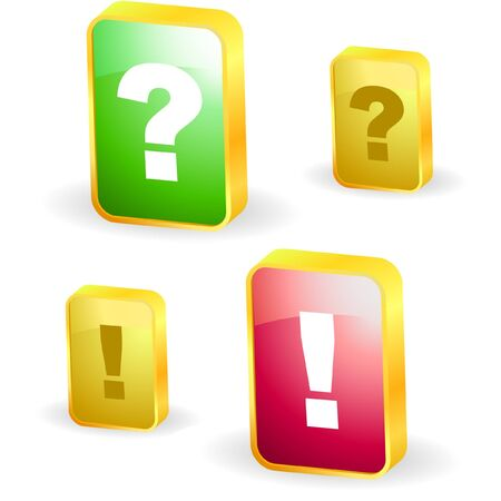 questioner: Exclamation and question  elements.    Illustration