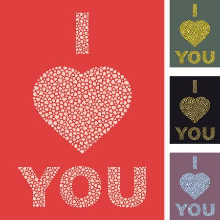fondness: I love you. Love message.    Illustration