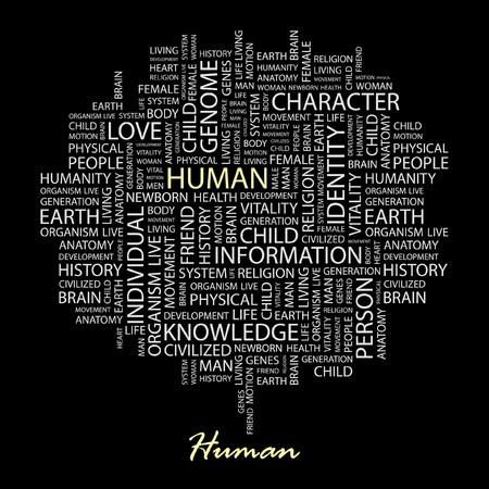 HUMAN. Word collage on black background.  Illustration