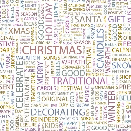 CHRISTMAS. Seamless background. Word cloud illustration.   Vector