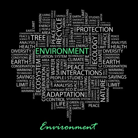 ENVIRONMENT. Word collage on black background. Stock Vector - 7030738