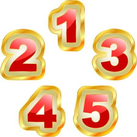 decimal: Number icons. set. Illustration