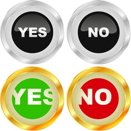 proceed: Yes and No icon. Vector beautiful icon set.