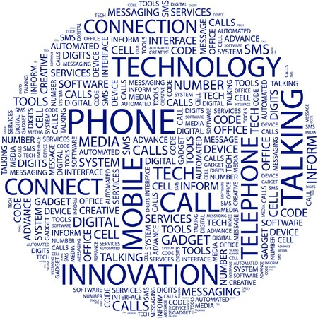 marketing mix: PHONE. Word collage on white background.  Illustration