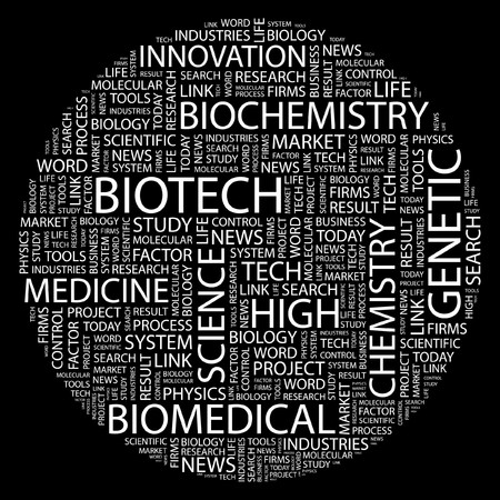bioscience: BIOTECH. Word collage on black background.