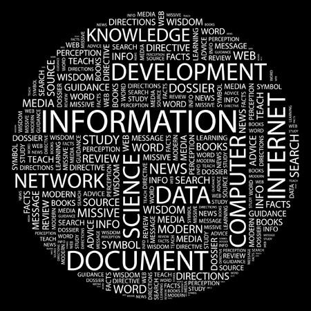 cognizance: INFORMATION. Word collage on black background. Illustration