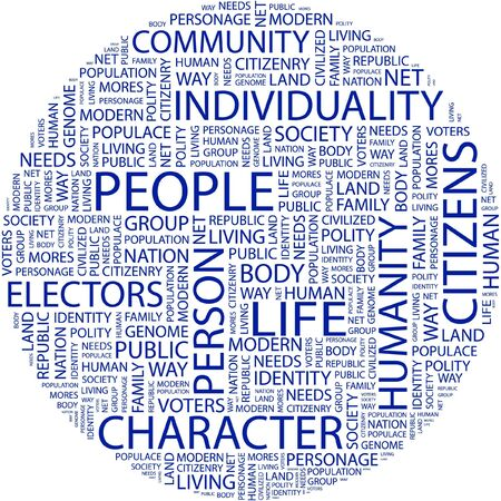 civilized: PEOPLE. Word collage on white background.