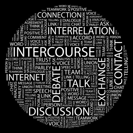intercourse: INTERCOURSE. Word collage on black background.