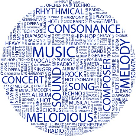 MUSIC. Word collage on white background. Vector