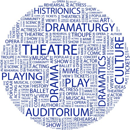 THEATRE. Word collage on white background.  Illustration