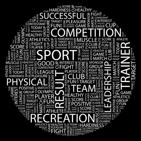 olympic game: SPORT. Word collage on black background.  Illustration
