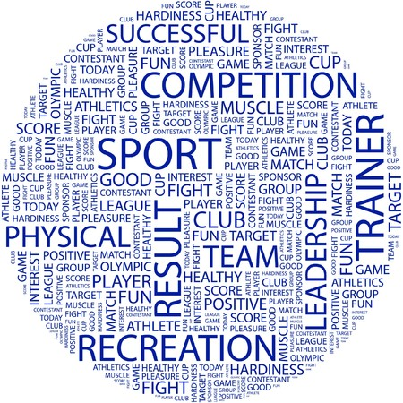 olympic game: SPORT. Word collage on white background.