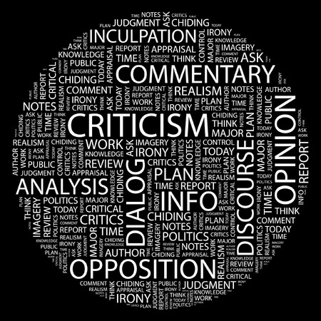 criticism: CRITICISM. Word collage on black background. Illustration