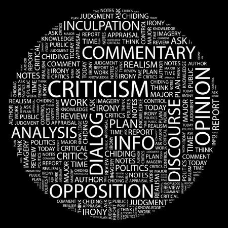 remonstrance: CRITICISM. Word collage on black background. Illustration
