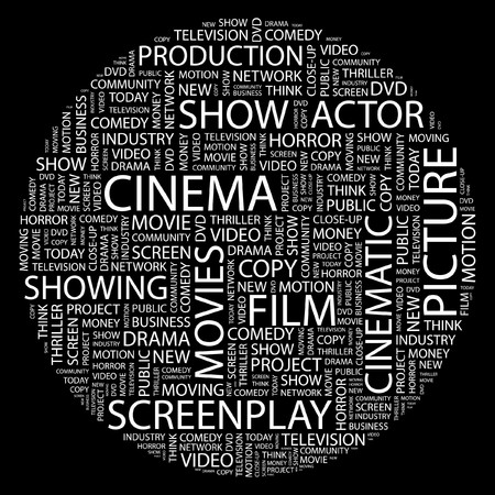 family movies: CINEMA. Word collage on black background.