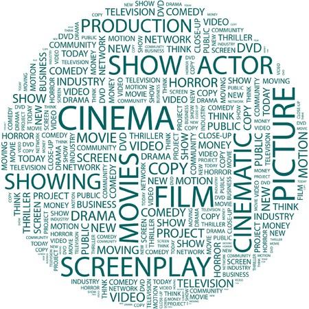 CINEMA. Word collage on white background.  Illustration