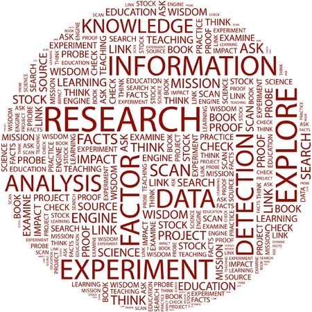 research education: RESEARCH. Word collage on white background.
